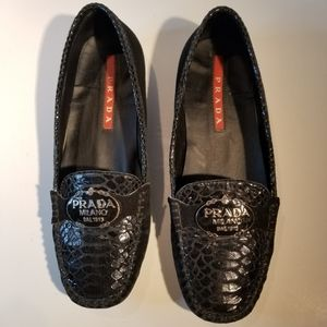 PRADA LOAFERS SUEDE & EMBOSSED LEATHER LOGO PLAQUE